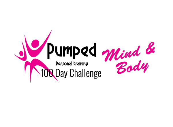 A picture of the 100 day challenge mind and body logo with white background