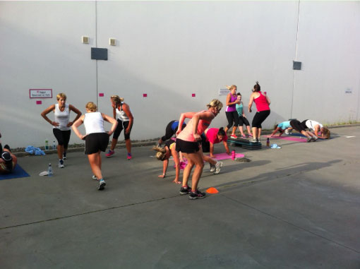 A picture of athletes exercising at circuit